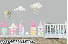City Scene Wall Decals, Modern Nursery Decor, Wall Decals Nursery, Baby Wall Decal, Kids Wall Decals, Removable and Reusable