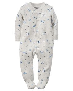 Baby Boy Cotton Zip-Up Sleep & Play from Carters.com. Shop clothing &… Carters Baby Clothes, Carters Baby Boys, Baby Boy Newborn, Baby Kids, Babies Clothes, Baby Baby, Gymboree, Summer Baby, Baby Boy Outfits