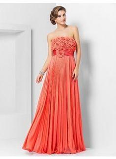 Glamorous A-line Strapless Floor-length Chiffon Handmade Flowers Prom Dress