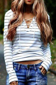 Striped V Neck Long Sleeve T-Shirt