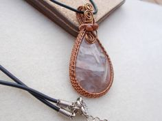 Bamboo agate wire wrapped pendant Wire by KTGemstoneCreations