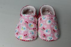 soft sole slip on baby shoe pink cotton cherry and by DottyRobin