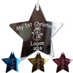 Personalised Cherry Wood Babys First Christmas Star Tree Decoration Bauble Gift
