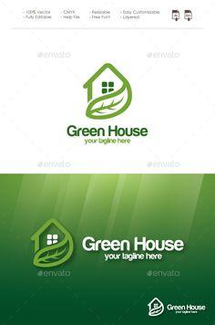 Green House Logo: Building Logo Design Template by Biru_Muda. Typography Logo, Logo Branding, Lettering, Logo Design Template, Logo Templates, Logo Inspiration, Logos Ideas, Building Logo, Farm Logo
