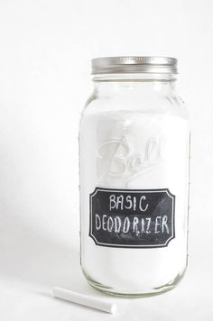 Stop buying those expensive deodorizers and make your own All Natural Basic Deodorizer for a fraction of the cost! Then you can put it in a cute mason jar!