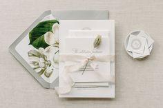 Aerialist Press // Bianca Letterpress Wedding Invitation // Romantic, Natural, Floral Monogram Letterpress Invitation