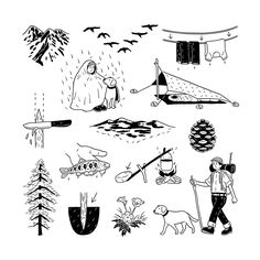 Tokyo illustrator Okamura Yuta and his endearing brush-and-ink characters Character Creation, Character Design, Camping Theme, Camping Snacks, Camping Packing, Camping Checklist, Camping Gear, Its Nice That, Simple Illustration