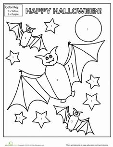 Halloween Color by Number Number worksheets Worksheets and