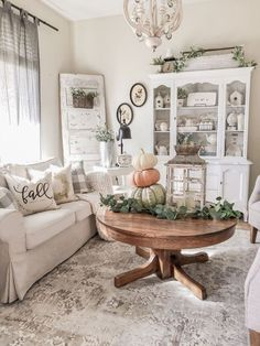 A Cozy Fall Farmhouse Family Room - Cottage style home decor inspiration with pumpkins, cozy throws and pillows, vintage and antique finds, a white Ra. A Cozy Fall Farmhouse Family Room - Cottage style home decor inspiration with pu. Farmhouse Family Rooms, Country Farmhouse Decor, Modern Farmhouse, French Farmhouse, Farmhouse Style, Farmhouse Design, Vintage Farmhouse Decor, Cottage Farmhouse, Antique Farmhouse