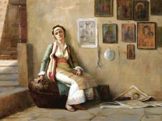 """Greece~~~Theodore Jacques Ralli """"A Moment's Rest,undated Private Collection Lausanne, A4 Poster, Poster Prints, Jean Leon, Greek Paintings, Christian Artwork, 10 Picture, Greek Art, Oil Painting Reproductions"""