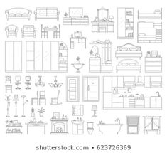 Vector Icons Set House Interior Furniture Stock Vector (Royalty Free) 623726369