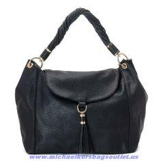Cheap Michael Kors Large Bedford Pebbled Shoulder Bag Black For Wholesale
