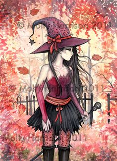 Woods of Autumn  Witch Original Fine Art Print by MollyHarrisonArt