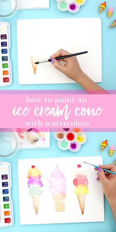 Click through to see the full tutorial - lots of pictures - great for watercolor beginners! These ice cream cones are so cute and so much fun to paint. #watercolor #watercolors #icecream Watercolor Beginner, Watercolor Tips, Watercolor Projects, Watercolour Tutorials, Watercolor Cards, Watercolour Painting, Painting & Drawing, Watercolors, Beginner Painting