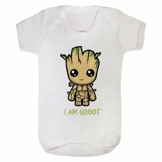 Beautiful super-soft feel body suit in a range of sizes from newborn to 24 months Polyester/ Cotton Baby Bodysuit with 3 poppers at the bottom. Machine washable and will retain shape. I Am Groot, Baby Groot, Guardians Of The Galaxy, Baby Bodysuit, Kids Toys, Super Cute, Suits, Stuff To Buy, Babyshower