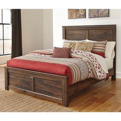 Ashley Furniture Quinden Queen Panel Bed in Dark Brown