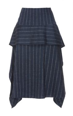 This **Adeam** skirt features an A-line silhouette with an all over pinstripe pattern.