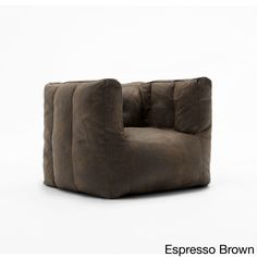 Comfort Research BeanSack Big Joe Lux Microsuede Square Bean Bag Chair (Espresso Brown), Size Large (Polyester)