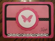 "breast cancer ""HOPE"" card using mini monograms cricut cart."