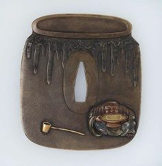 Tsuba in the outline of a sake jar, with design of a drunken shojo / Unknown