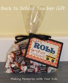 "For bus driver. ""Let's Roll Into School"" Back to School / First Day of School Teacher Appreciation Gift"