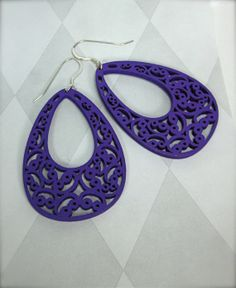 Laser Cut Wood Filigree earrings in purple lace 2 by CambaJewelry, $14.00