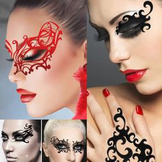Steampunk Red White Black Mask Victorian Lace Costume Halloween Reusable Makeup | eBay