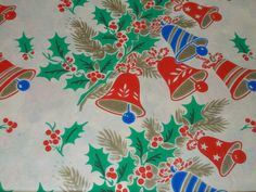 VTG CHRISTMAS WRAPPING PAPER UNUSED GIFT WRAP MCM WW2 ERA BELLS HOLLY PINE 1940