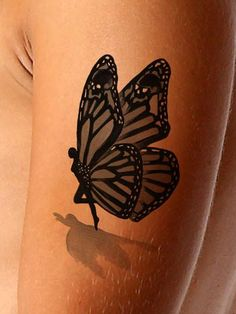 Try our most unique, fairy-butterfly 3D tattoo. The tiny fairy with butterfly wings on this watercolor tattoo appears to be coming to a landing on your skin. Th
