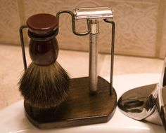 Handmade Safety Razor and Brush Stand on Etsy, $40.00