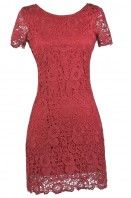 Burgundy Red Lace Dress, Cute Red Dress, Red Lace Bridesmaid Dress