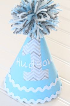 Light Blue Baby Boy Birthday Hat & Banner by sweetdelights1, $22.50