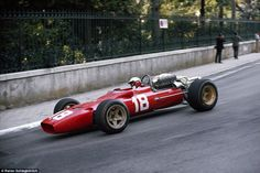 The car looks stunning, but 1967 would prove to be a terrible year in more than one way for Ferrari. There were to be no race wins but worst of all was the tragic death of Lorenzo Bandini who was killed in a fiery blaze at the Monaco Grand Prix where he is pictured racing above