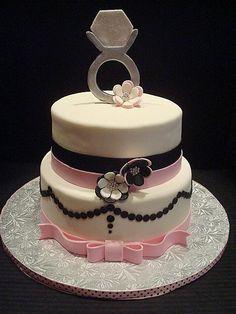 pink and black bridal shower cake