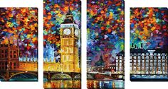 'Big Ben London' by Leonid Afremov 4 Piece Painting Print on Wrapped Canvas Set