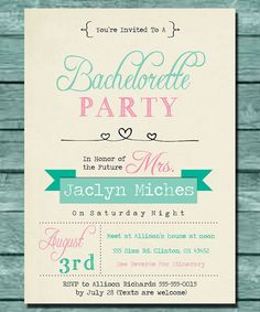 Cute Mint and Pink Bachelorette Party Invitation - Print Yourself - Save Money on Etsy, $15.00