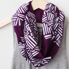 White Crosshatch on Plum Infinity Scarf on Wanelo