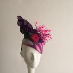 1b34be28b5e Feather Burst - Vibrant Calot Pink Purple Cocktail Hat. Designer HatsPurple  ...