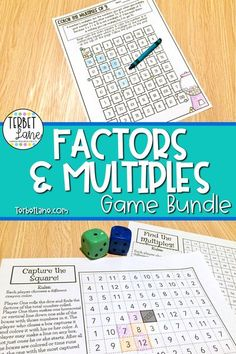 This factors and multiples math bundle includes low prep math practice your students will look forward to. Each two player game comes with simple instructions and requires only crayons or colored pencils and dice. Factors Race may be played with game pieces or using a crayon as a marker. 4th grade math. Math Centers.