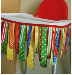 Bright Ribbon High Chair Banner First birthday fun! Baby 1st Birthday, First Birthday Parties, First Birthdays, Birthday Ideas, Birthday Chair, Birthday Highchair, Circus Birthday, Circus Theme, Circus Party