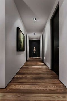 30 hallway decorating ideas - how to decorate the walls?Interesting direction of laying parquet Interesting direction of laying parquet. Hallway flooring parquet hallway floor Fun and creative ideas of wall Black Interior Doors, Black Doors, Interior Architecture, Interior Design, Hallway Decorating, Decorating Ideas, Decorating Websites, Design Websites, Wooden Flooring