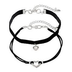 Juicy Couture Heart Black Faux Suede Choker Necklace Set