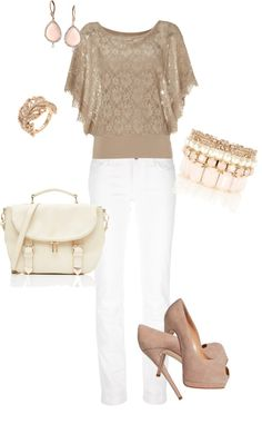 """""""Dressy Nude & White"""" by grahama on Polyvore"""