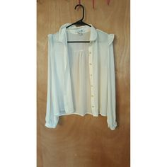 White Blouse Sheer white long sleeved button-up blouse. Forever 21 Tops Tees - Long Sleeve