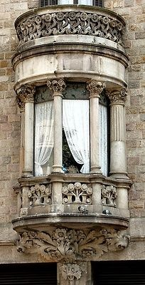 Just. Pure. Lovely.: bay window w/ columns, carvings and a balcony