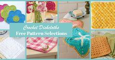 Lullaby Lodge: Dishcloth Crochet Roundup - Six Free Patterns to Make + Free Bonus Pattern Knitted Washcloth Patterns, Knitted Washcloths, Crochet Dishcloths, Crochet Patterns, Chrochet, Craft Patterns, Crochet Ideas, Crochet Stitches, Easy Crochet