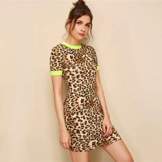 Women Color block Stretchy Leopard Ringer Bodycon Dress-3 #bodycondresses #Bodyconcollection #Trendyitems #OOTD #ootdfashion #summeroutfits #fallcollection #Lookbook #bodyconoutfits #PDSFashion #partydresses #fashionintrend Summer Bodycon Dresses, Bodycon Outfits, Casual Summer Dresses, Fall Collection, Dress Collection, Clubwear Dresses, Collar Dress, Ootd Fashion, Colorful Fashion