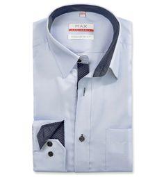Modern Fit polopriliehavá modrá štrukturovaná košeľa Rybia kostra (keprová tkanina) Leto, Suits, Coat, Jeans, Fitness, Jackets, Fashion, Down Jackets, Moda
