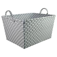 Woven Storage Bin Rectangular Gray and White - Pillowfort™. Image 1 of 1.