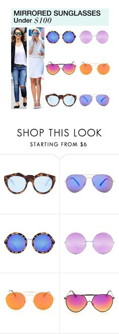 """Under $100: Mirrored Sunglasses"" by polyvore-editorial ❤ liked on Polyvore featuring Le Specs, Steve Madden, Quay, under100 and mirroredsunglasses"